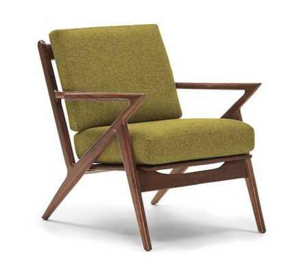 Green Soto Mid Century Modern Chair - Key Largo Grass- Green - Walnut - Joybird