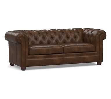 "Chesterfield Roll Arm Leather Sofa 86"", Polyester Wrapped Cushions, Vintage Cocoa - Pottery Barn"