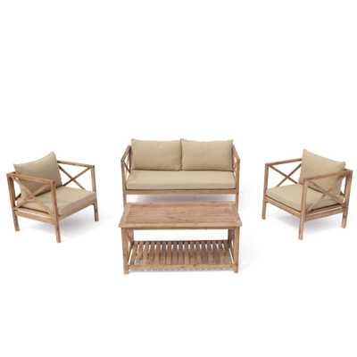 Courtyard Casual Burbank 4 -Piece Wood Outdoor Sofa Set with Beige Cushions - Home Depot
