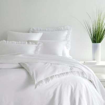 LAUNDERED RUFFLE WHITE DUVET COVER-KING - Pine Cone Hill
