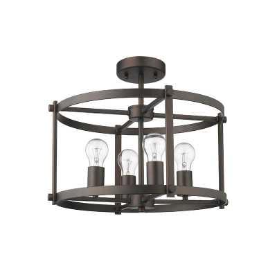 "Dunnstown 4 - Light 17.5"" Caged Drum Semi Flush Mount - Wayfair"