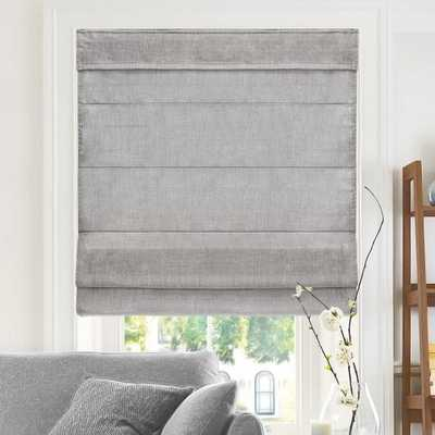 Belgian Denim Cordless Light Filtering Privacy Polyester Roman Shades 47 in. W x 64 in. L - Home Depot