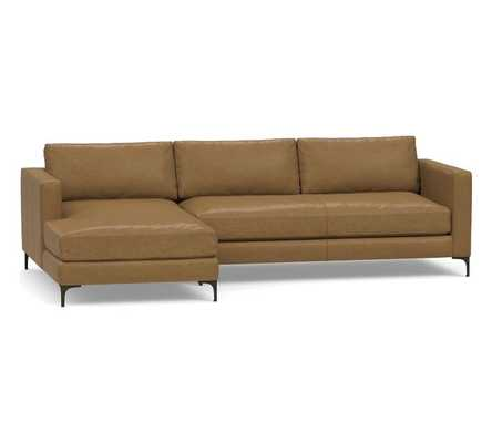 Jake Leather Right Arm Sofa with Chaise Sectional, Down Blend Cushions, Statesville Toffee - Pottery Barn
