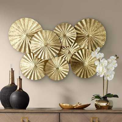 """Dynasty 33 1/2"""" Wide Gold Fan Wall Art - Lamps Plus"""