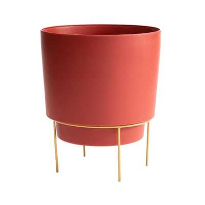 Hopson Medium 10 in. Burnt Red Planter with Metal Gold Stand - Home Depot