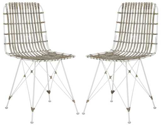 Minerva Wicker Dining Chair (Set of 2) - White Wash - Arlo Home - Arlo Home