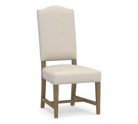 Ashton Upholstered Dining Chair - Performance Brushed Basketweave Oatmeal - Pottery Barn