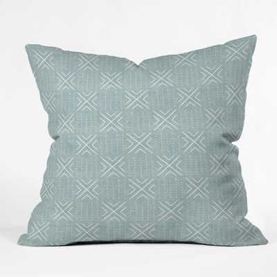 MUD CLOTH TILE DUSTY BLUE outdoor pillow - 18x18 - Wander Print Co.
