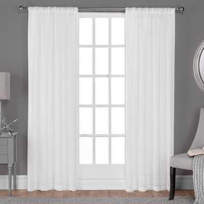 Belgian Winter White Textured Linen Look Jacquard Sheer Rod Pocket Top Window Curtain - Home Depot