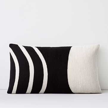 """Crewel Rounded Pillow Cover, Black, 12""""x21"""" - West Elm"""