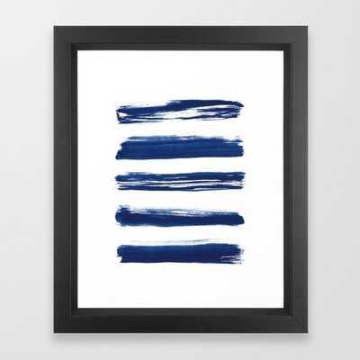Indigo Brush Strokes | No. 2 Framed Art Print - Society6