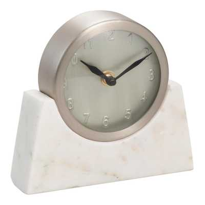 Silver Clock With White Marble Stand - World Market/Cost Plus