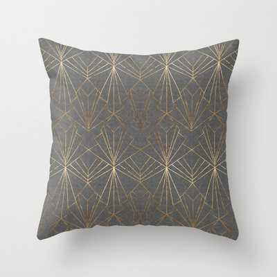 """Art Deco in Gold & Grey Throw Pillow - 18"""" x 18"""" with insert - Society6"""