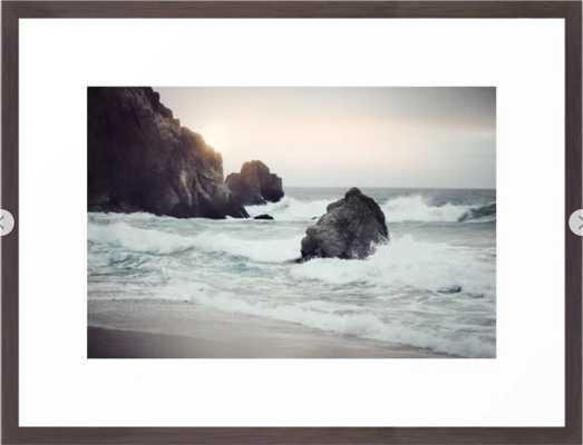 Ocean Shores Framed Art Print Small-15x21- Conservative Walnut Frame - Society6
