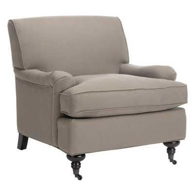 ChloeSea Mist Blue/Java Linen Club Arm Chair, Sea Mist Blue/Java - Home Depot