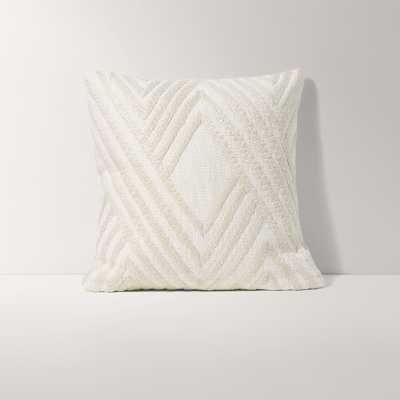 Burrow Ivory White Square Throw Pillow, Embroidered Pattern - Decorative Pillows - Burrow