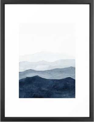 Indigo Abstract Watercolor Mountains Framed Art Print - Society6