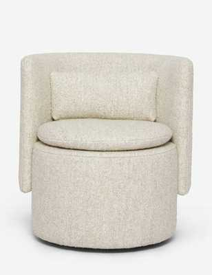 Hazel Swivel Chair, Natural Boucle - Lulu and Georgia