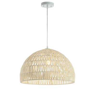 Campana 20 in. Woven Rattan Dome LED Pendant, Cream - Home Depot