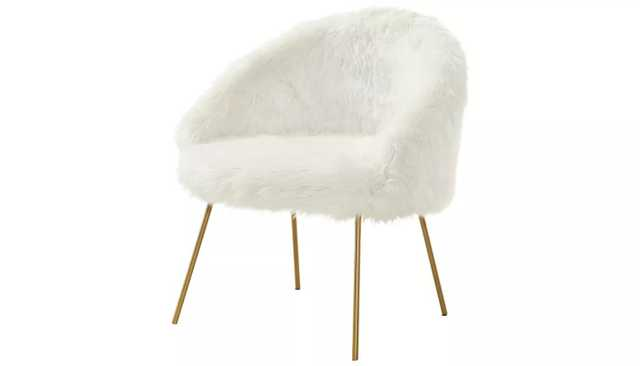 Anthony White Faux Fur Accent Chair - Target