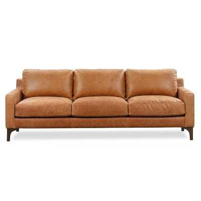 "Omro Genuine Leather Standard 85"" Square Arm Sofa - Wayfair"