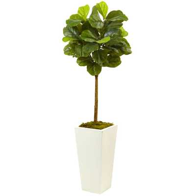 4.5 ft. Fiddle Leaf Fig in White Planter (Real Touch) - Home Depot