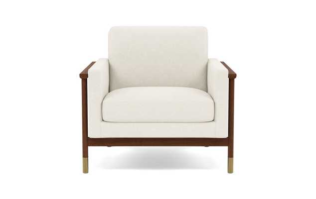 Jason Wu Accent Chair with White Cirrus Fabric and Oiled Walnut with Brass Cap legs - Interior Define