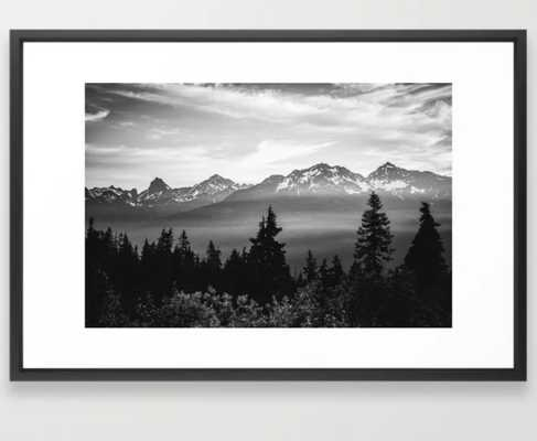 Morning in the Mountains Black and White Framed Art Print - Society6