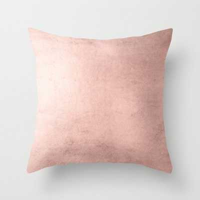 """Blush Rose Gold Ombre Throw Pillow - 20"""" x 20"""" - With insert - Society6"""