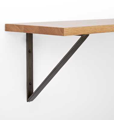 "8"" Triangle Brackets & Shelf Set- Black Bracket, 24"" White Oak Shelf - Rejuvenation"