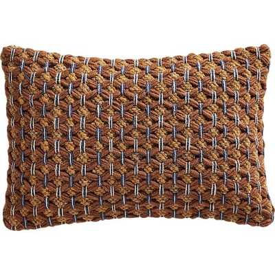 "18""X12"" GEEMA COPPER WOVEN PILLOW WITH DOWN-ALTERNATIVE INSERT - Crate and Barrel"