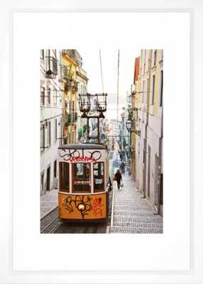 Lisbon summer day and vintage tram urban city street photography Framed Art Print -  Vector white - Society6