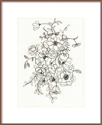 Ink Floral II - 16x20 - Bronze Metal Frame - Artfully Walls