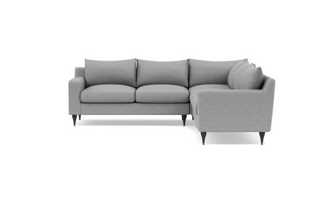 "Sloan 109"" Corner 4-Seat Sectional Sofa in Silver Grey Pebble Weave - Interior Define"