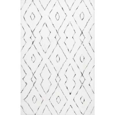 Beaulah Modern Geometric Shag White 6 ft. x 9 ft. Area Rug - Home Depot