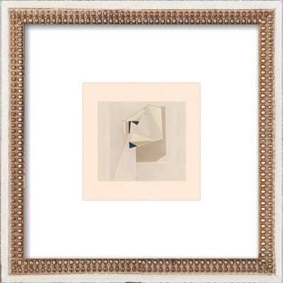 "ABSTRACT COMPOSITION 2 - 16 x 16 -  Distressed Cream Double Bead Wood, frame width 1.25"", depth 1.69"" - Artfully Walls"