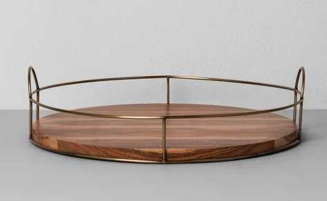 """16"""" Round Wood and Wire Tray - Hearth & Hand™ with Magnolia - Target"""