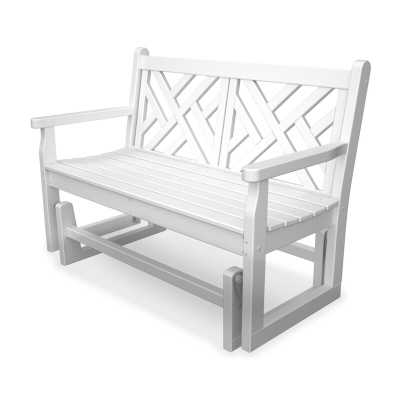 POLYWOOD® Chippendale Glider Bench in White - AllModern