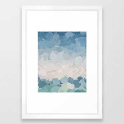 "Mint Blue Aqua Sky Ocean Abstract Art Painting Clouds Water Waves Framed Art Print, 15 X 21"" - Society6"