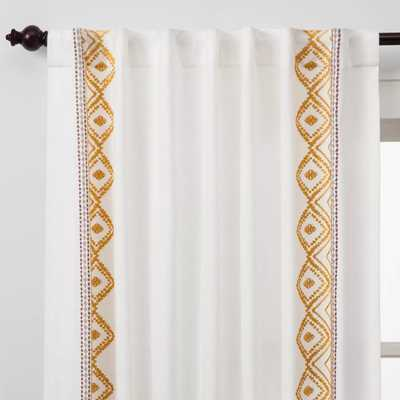 "Global Border Curtain Panel White Yellow - Opalhouse 95"" - Target"