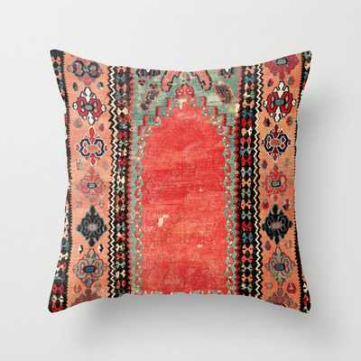 Sivas Antique Cappadocian Turkish Niche Kilim Print Throw Pillow - Society6
