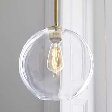 Sculptural Glass Shade, Medium Globe, Clear - West Elm