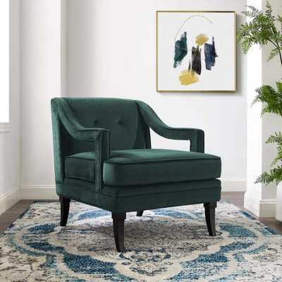 Modway Concur Green Button Tufted Upholstered Velvet Armchair - Home Depot