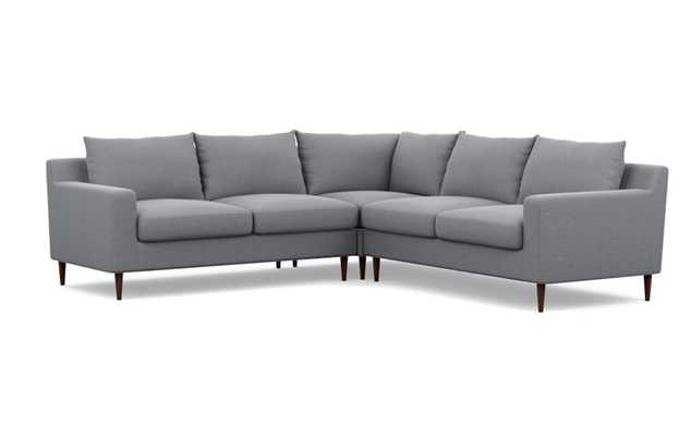 Sloan Corner Sectional Sofa - Dove Pebble Weave Fabric - Tapered Square Oiled Walnut Legs - Interior Define