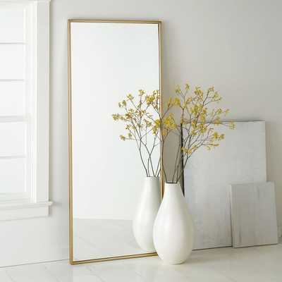Metal Framed Floor Mirror, Antique Brass - West Elm