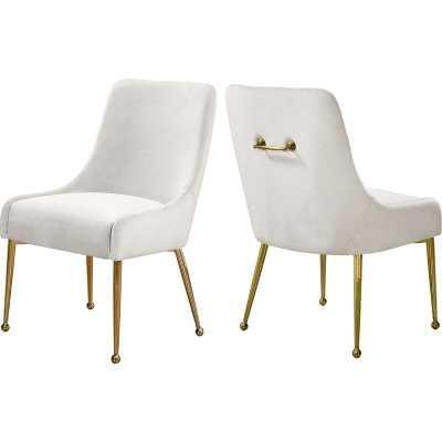 Cream Stovall Velvet Upholstered Side Chair (Set of 2) - Wayfair
