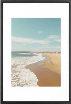 "California Beach Framed Art Print,  26"" X 38"" Vector Black - Society6"