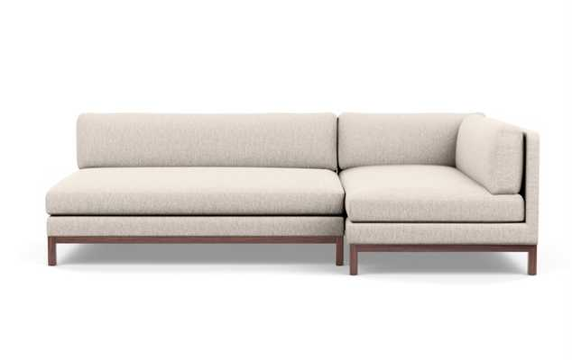 Jasper Chaise Sectional in Wheat Cross Weave Fabric with Oiled Walnut legs - Interior Define