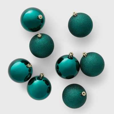 8ct 70mm Shatter Resistant Shiny Glitter Christmas Ornament Set Emerald Green - Wondershop - Target