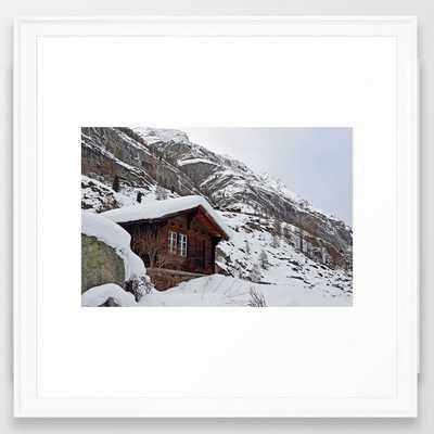 Swiss Mountain House Framed Art Print-22x22 -Scoop White - Society6